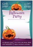 Affiche editable heureuse de Halloween avec le sourire et potirons heureux avec le parchemin sur le fond bleu-foncé avec des batt illustration de vecteur