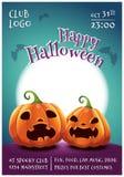 Affiche editable heureuse de Halloween avec les potirons effrayés et fâchés sur le fond bleu-foncé avec la pleine lune Veille de  illustration stock
