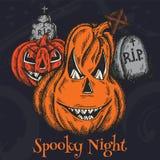 Affiche effrayante de bande dessinée de vacances de Halloween de carte colorée d'horreur avec la conception fantasmagorique de nu illustration libre de droits