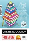 Affiche en ligne isométrique d'éducation illustration stock
