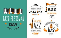 Affiche et emblèmes de genre de musique d'instruments de musique de festival de jazz illustration de vecteur