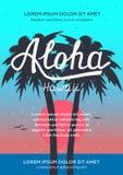 Affiche et insecte de partie de plage de lever de soleil d'Aloha Hawaii Lettrage de main Photos libres de droits