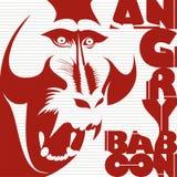 Affiche fâchée de babouin Images libres de droits