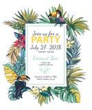 Affiche florale tropicale de partie d'été d'illustration de vecteur avec le copain Photographie stock libre de droits