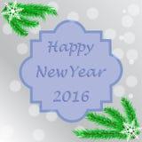Affiche - gelukkig nieuw jaar 2016, wordt het van letters voorzien geschreven in een fram Royalty-vrije Stock Afbeelding