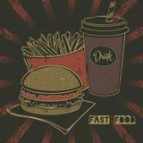 Affiche grunge d'aliments de préparation rapide avec le cheeseburger, la soude et les pommes frites à emporter Photographie stock
