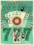 Affiche grunge de style de vintage de casino Jouer des cartes, roulette, triple sept Jack stylisé, reine et roi Illustration de v Image libre de droits