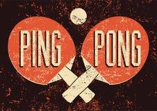 Affiche grunge de style de vintage typographique de Ping Pong Rétro illustration de vecteur illustration de vecteur