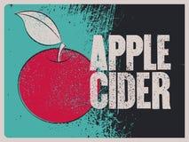 Affiche grunge de style de vintage typographique de cidre d'Apple Rétro illustration de vecteur Photos libres de droits