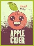 Affiche grunge de style de vintage typographique de cidre d'Apple Rétro illustration de vecteur Illustration Libre de Droits