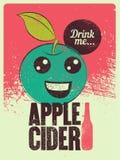 Affiche grunge de style de vintage typographique de cidre d'Apple Rétro illustration de vecteur Illustration de Vecteur