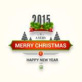 Affiche of het ontwerp van de groetkaart voor Gelukkig Nieuwjaar en Vrolijke Chr Stock Fotografie