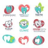 Affiche heureuse d'emblèmes de dents de clinique de stomatologie Images libres de droits