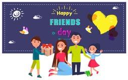 Affiche heureuse de jour d'amis avec célébrer la famille illustration libre de droits