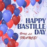 Affiche heureuse de jour de bastille avec beaucoup de ballons illustration libre de droits