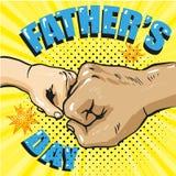 Affiche heureuse de jour de pères dans le rétro style comique Bruit Art Vector Illustration Image stock