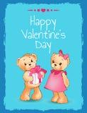 Affiche heureuse de jour de valentines avec deux Teddy Bears Images libres de droits