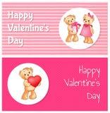 Affiche heureuse de jour de valentines avec deux Teddy Bears Images stock