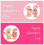 Affiche heureuse de jour de valentines avec deux Teddy Bears Image stock