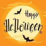 Affiche heureuse de lettrage de main de Halloween Illustration de vecteur Image stock