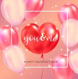 Affiche heureuse de typographie de jour de valentines avec le texte manuscrit de calligraphie illustration libre de droits