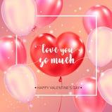 Affiche heureuse de typographie de jour de valentines avec le texte manuscrit de calligraphie illustration de vecteur