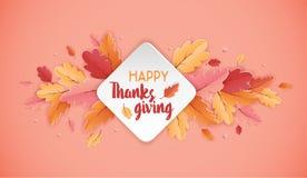 Affiche heureuse de typographie de Thanksgiving Texte de célébration avec le fond de feuilles d'automne pour la carte postale, ca Photos libres de droits