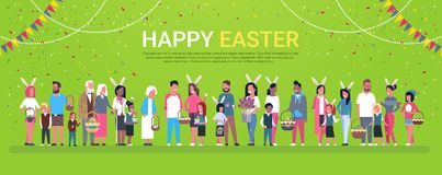 Affiche heureuse de vacances de Pâques avec le groupe de personnes usage Bunny Ears And Holding Baskets au-dessus de fond horizon illustration stock