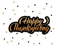Affiche heureuse tirée par la main de lettrage de typographie de thanksgiving Citation de célébration sur le fond texturisé pour  illustration libre de droits