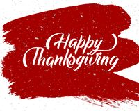 Affiche heureuse tirée par la main de lettrage de typographie de thanksgiving Citation de célébration sur le fond texturisé pour  illustration stock