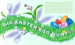 Affiche horizontale de vecteur de fête de Pâques avec des bunnys et des oeufs Photo libre de droits