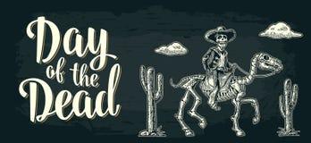 Affiche horizontale pour Dia de los Muertos Jour du lettrage mort Image libre de droits