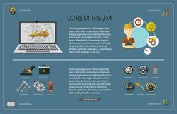 Affiche infographic de service de voiture plate de vecteur Photos libres de droits