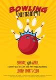 Affiche, insecte ou bannière de tournoi de bowling illustration stock