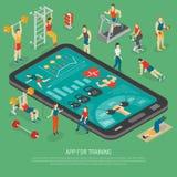 Affiche isométrique d'Apps d'accessoires de Smartphone de forme physique illustration de vecteur