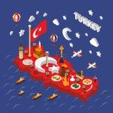 Affiche isométrique de carte d'attractions touristiques de la Turquie Photographie stock libre de droits