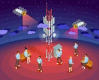Affiche isométrique de satellites publics de technologie du sans fil illustration libre de droits