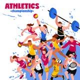 Affiche isométrique de sport coloré illustration stock
