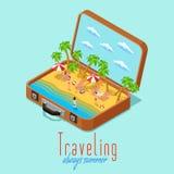 Affiche isométrique de style de voyage de vacances rétro Photos stock