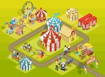 Affiche isométrique de disposition de champ de foire de cirque de voyage Photographie stock
