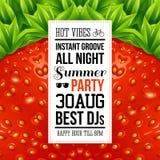 Affiche juteuse de partie d'été Modèle optique de fond de fraise Image stock