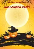 Affiche lumineuse de couleur de Halloween avec le fond de pleine lune Photos stock