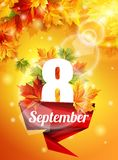 Affiche lumineuse le 8 septembre, feuilles d'érable d'automne, l'effet de la lueur du soleil La lumière Illustration de vecteur Images libres de droits