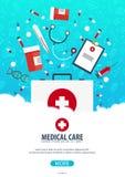 Affiche médicale Soins de santé Illustration de médecine de vecteur illustration stock