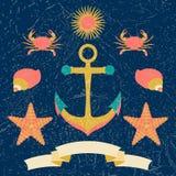 Affiche marine nautique d'enfants de cercle Style de bande dessin?e avec des effets grunges illustration libre de droits