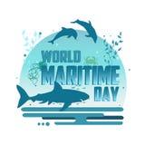 Affiche maritime de concept de vecteur de jour du monde Photographie stock libre de droits