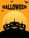 Affiche mauvaise fantasmagorique d'orange de potirons de Halloween illustration de vecteur