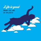 affiche Meisje op de wolken Het leven is goed Stock Afbeeldingen