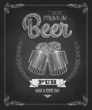 Affiche met Bier Krijttekening Stock Afbeeldingen