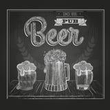 Affiche met Bier Krijttekening Stock Foto